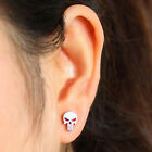 Men Women The Punisher Skull Ear Jewelry Stainless Steel Piercing Studs Earrings