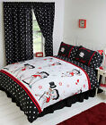 BLACK & WHITE BETTY BOOP SUPERSTARS LIPS HEARTS DUVET COVER SET OR CURTAIN £16.99 GBP