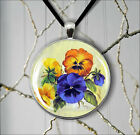 FLOWERS PANSIES BOUQUET PENDANT NECKLACE  -g3u7