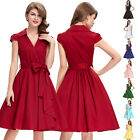 Formal Solid Color Vintage Retro Cap Sleeve V-Neck Party Dress Short Swing 1950s