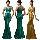 Sexy Long Mermaid Sequins Evening Gown Bridesmaid Formal Wedding Party New Dress