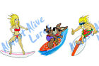 Surfing Buddies Friends Surf Beach Ocean Decal Sticker - Auto Car Truck Cup Boat