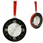 Hometime Kitchen Frying Pan Novelty Wall Clock in Red or Black