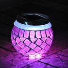 Solar Powered Mosaic Glass Jar Garden Table LED Light Decoration Four Colours