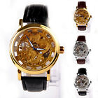 Fashion Hollow Skeleton Mechanical Watches Men Leather Strap Casual Wristwatch