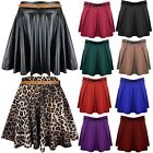 New Ladies Leopard Animal Belted Pleated Flared Mini Wetlook Womens Skater Skirt