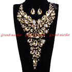 Fashion Black Chain Acrylic Resin Crystal Choker Statement Pendant Bib Necklace