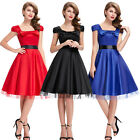 Formal Mini Swing Bow Cap Sleeve Square Neck Retro Vintage Party Picnic Dress