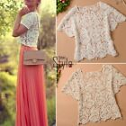 Womens Crew-Neck Lace Crochet Short Sleeve T Shirt Floral Tops Blouse Hot UK
