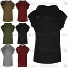 Ladies Chunky Knitwear Cowl Neck Side Slit Dress Womens Sleeveless Jumper Top