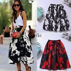 Women's Swing Skater Pleated Short Flared A Line Hepburn Puff Party Dress Skirts
