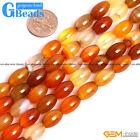 Natural Carnelian Agate Gemstone Rice Beads For Jewelry Making Free Shipping 15""