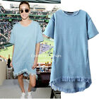 dp243 Celebrity Style Short Sleeve Casual FRAYED Womens Denim Dress 8 10 12