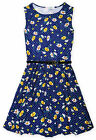 Girls Sleeveless Daisy Floral Skater Dress New Kids Polkadot Dresses 7-13 Years