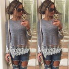 2016 New Grey Long Sleeved T-shirt Lace Blouse Stitching CP3