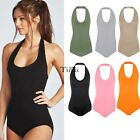 New Women Plain Halter Neck Sleeveless Ladies Stretch Leotard Top Bodysuit TXCL