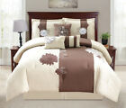 beige comforter sets - 7 Piece Floral Applique Beige/Chocolate Comforter Set