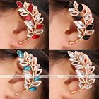Gold Plated Crystal Glass Rhinestone Leaf Clip-on Wrap Cuff Earring No Piercing