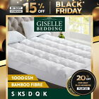 Bamboo  Fibre Pillowtop Mattress Topper 1000GSM All Size Pillow Luxury Protector