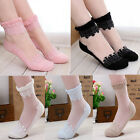 1pair Crystal Transparent Short Sock Lace Stockings Socks Women Girls Hot Socks