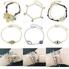 Fashion European Crystal Beads Hamsa Hand Evil Eye Charm Chain Bracelet Bangle