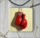SPORT BOXING RED GLOVES PENDANTS NECKLACE OR EARRINGS -j2f5