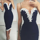 Womens V Neck Floral Lace Navy Bodycon Strappy Evening Party Short Dress UR