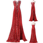 Red Long Split Formal Evening Gown Bridesmaid Wedding Evening Masquerade Dress