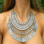 Vintage Bohemian Gypsy Ethnic Turkish Beachy Silver Coin Necklace Fringe Chain