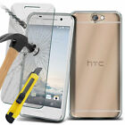 For HTC New Protective Gel TPU Rubber Clear Case Tempered Glass Cover Film