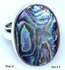 Rainbow Fire Abalone Shell Unique 925 Sterling Silver Ring Jewellery; L to T