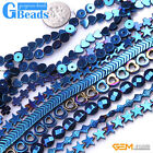 Assorted Shapes Blue Metallic Coated Hematite Reflection Beads Free Shipping 15""