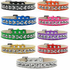 New Bling Dog Collar Double Crystal and Silver Spikes
