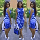 Women Summer Bandage Bodycon Floral Evening Party Cocktail Short Mini Dress New