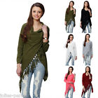 JP Women Long Sleeve Solid Tassel Slash Blouse Tops Shirt Plus Size M9693