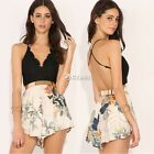 Sexy Women Backless Cross Strap V Neck Floral Lace Romper Jumpsuit Playsuit