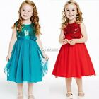 Toddler Kids Baby Dress Girls Blue Red Sleeveless Party Princess Pageant Dresses