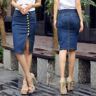 Women's Front  Button Slit High Waisted Vintage Denim Knee Pencil Jean Skirts