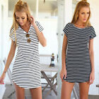 New Women Casual Dress Crew Neck Short Sleeve Striped Loose T-Shirt Mini DressLA