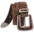 "1 1/2"" Hair Calf Rhinestone Ornaments Genuine Leather Belt"