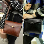 Vintage Hobo Messenger Bag Shoulder Simple PU Leather Satchel Flap Womens Purse