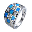 Square Blue Fire Opal Zircon Wedding Ring 10KT White Gold Filled Jewelry Size6-9