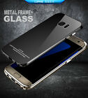 Luphie Aluminum Metal Frame + Tempered Glass Back Case Cover for Samsung S6 S7