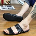 Men's Cowhide Leather Slippers Summer Beach Shoes Outdoor Sports Casual Sandals