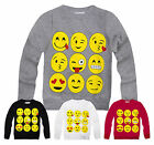 Girls Emoji Sweatshirt New Kids Emoticons Smiley Face Jumper Top Ages 3-13 Years