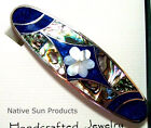 """Hair Barrette Floral design w/ Mother of Pearl Inlays in 5 color choices 3.5"""" CF"""