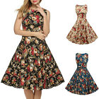 Womens Vintage Floral Retro Swing 50s 60s Housewife Rockabilly Pinup Party Dress