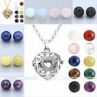 Women's Fashion Round Gemstone Heart Locket Pendant Chain Necklace Jewelry