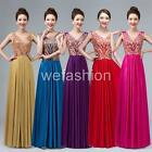 Women Beaded Plus Size Evening Party Cocktail Gown Wedding Bridesmaid Long Dress