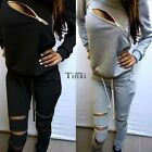 2Pcs Women Zipper Casual Sport Suit Tracksuit Hoodies Sweatshirt Pants Sets TXCL